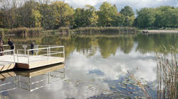 Dock overlooks a small lake
