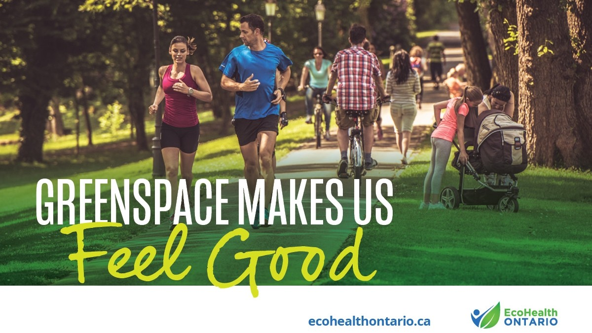 People running and spending time outdoors in green space and trees