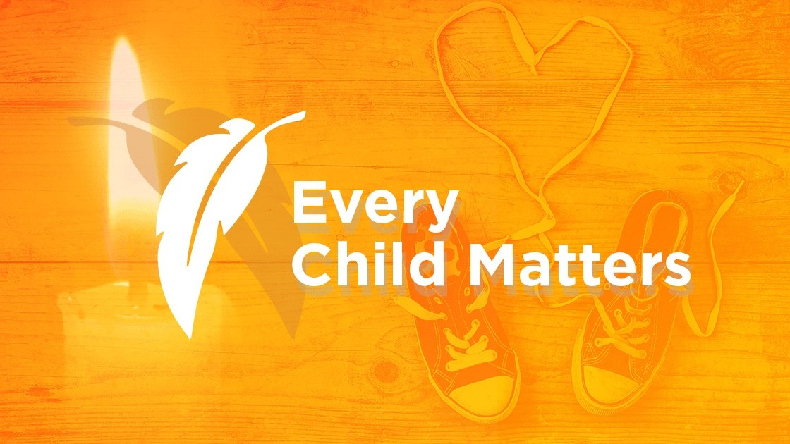 Orange Banner, Candle & Shoes- Every Child Matters