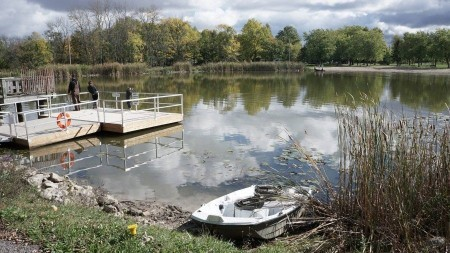 Boat and dock at chippawa creek dills lake