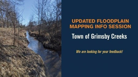 Poster photo of a grimsby creek with information stating Updated Floodplain Mapping Info Session for Town of Grimsby Creeks in orange