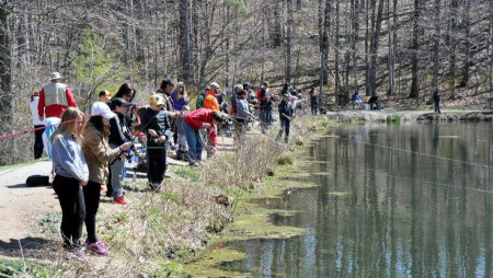 Members of the community gather around pond to fish