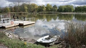 Boat and dock at chippawa creek dills lake
