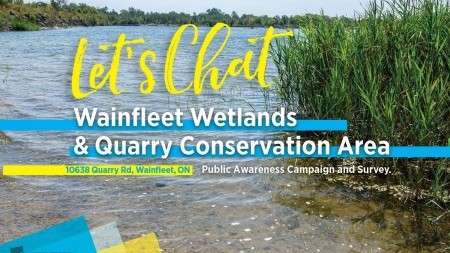 Let's Chat, Wainfleet Wetlands & Quarry CA Public Awareness Campaign, writing on background of Wainfleet Wetlands property, blue water and green aquatic plants