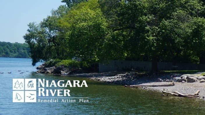 Photo of Queens Royal Beach with Niagara River RAP logo in white