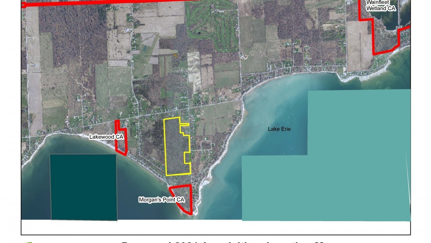 GIS Map of New Wainfleet Property Acquisition- Yellow Area