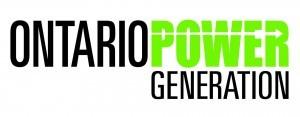 Logo of OPG, Ontario in black, Power in green, generation in black underneath