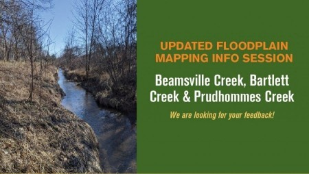 Poster photo of a lincoln creek with information stating Updated Floodplain Mapping Info Session for Town of Lincoln