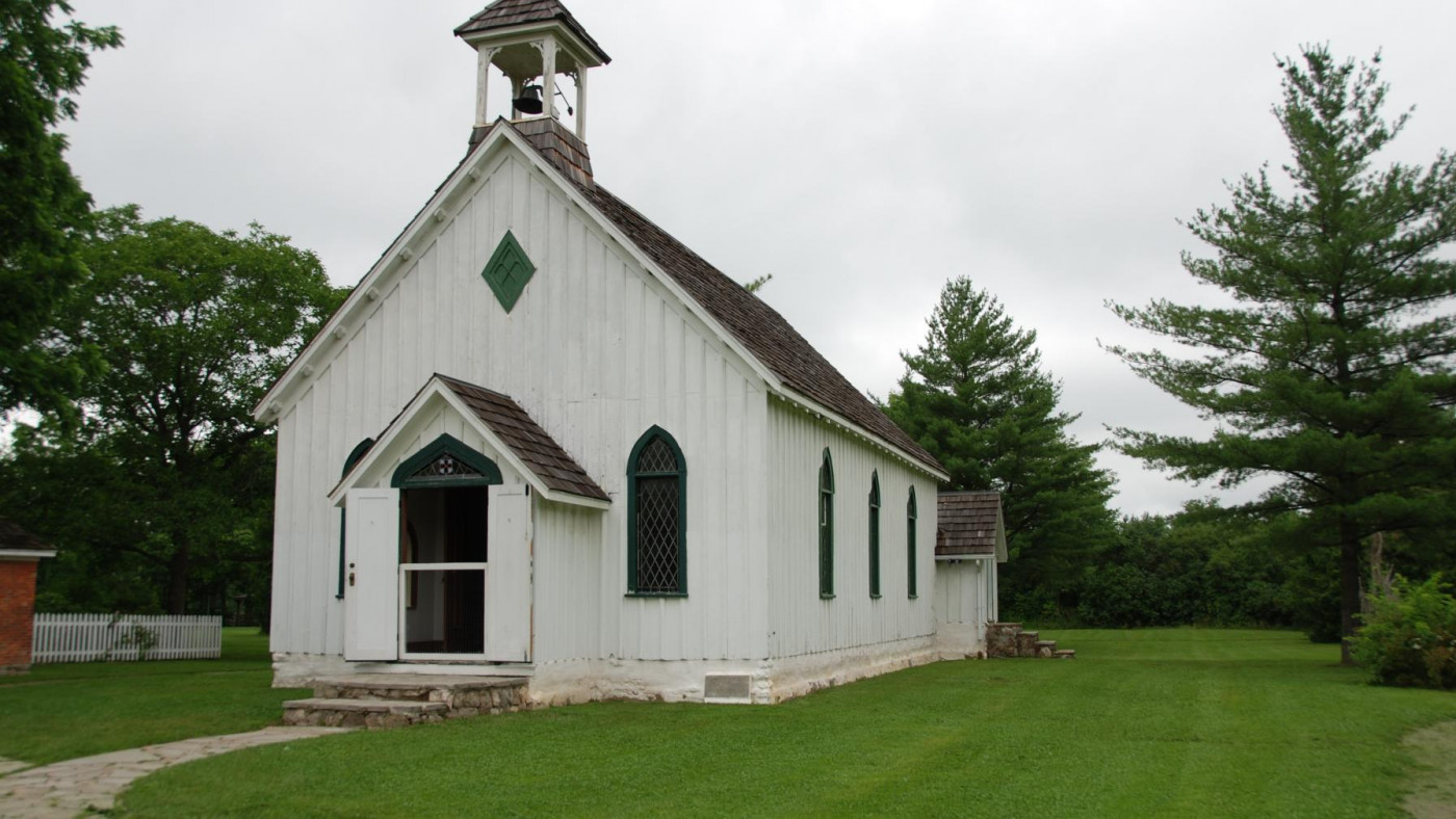 Photo of historical church at Ball's Falls