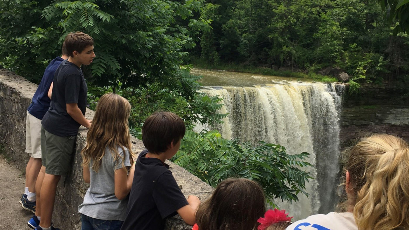 Kids at camp overlooking the ball's falls waterfalls